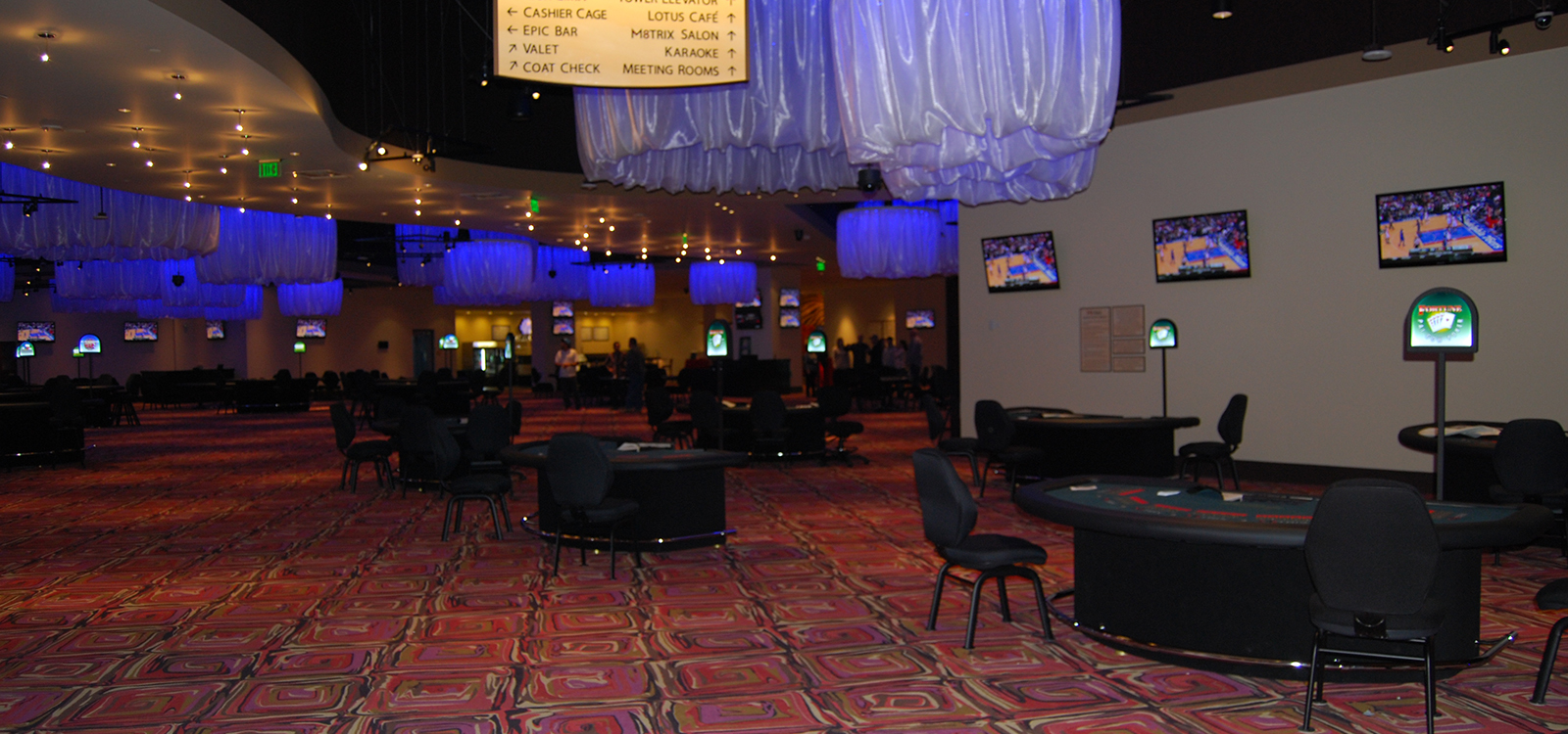 inside view of tables at the casino matrix