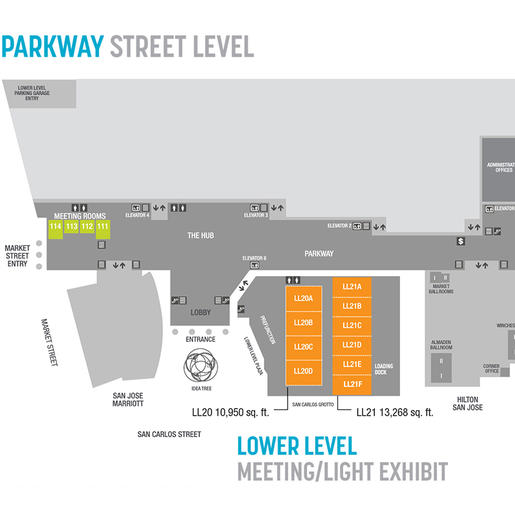 Floorplan and room specifications chart of the San Jose McEnery Convention Center Lower Level