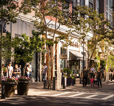 Shopping and strolling in the streets of Santana Row.