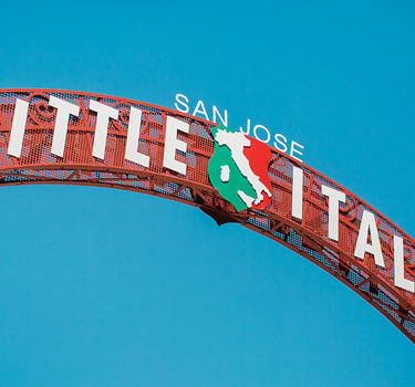 Little Italy arch at the entrance of Little Italy