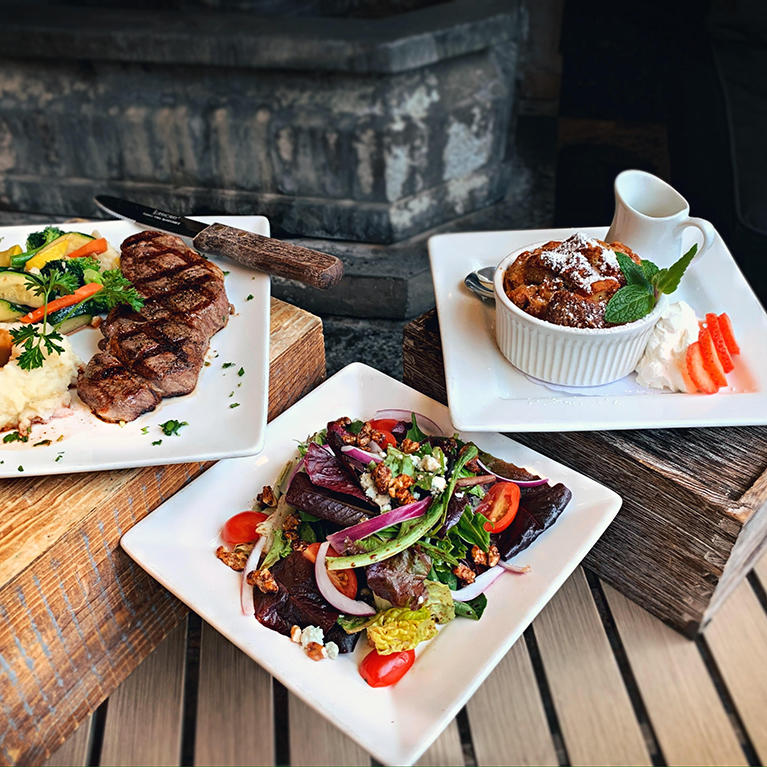 Three food plates from Rosie McCann's Irish Pub and Restaurant