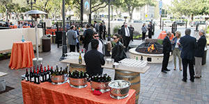 A reception on the renovated Montgomery & Civic Theaters patio